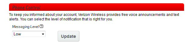 Adjust Verizon Wireless Balance Notification Alert