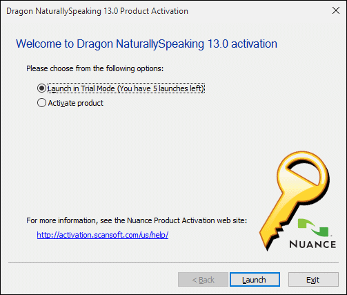 NaturallySpeaking Activation Request