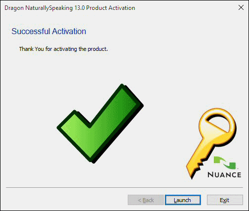 Successful NaturallySpeaking Activation