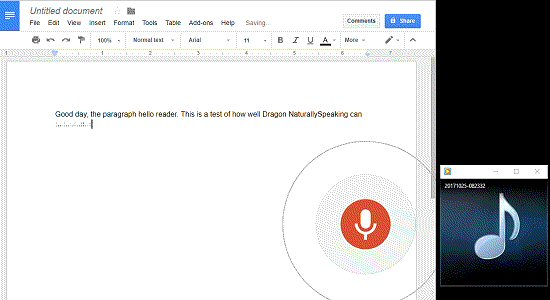 Google Docs transcribing recorded message