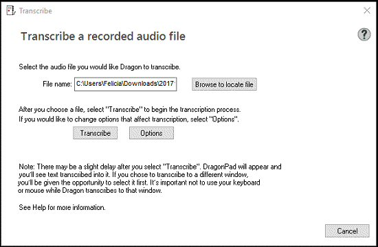 Transcribe Recorded Audio