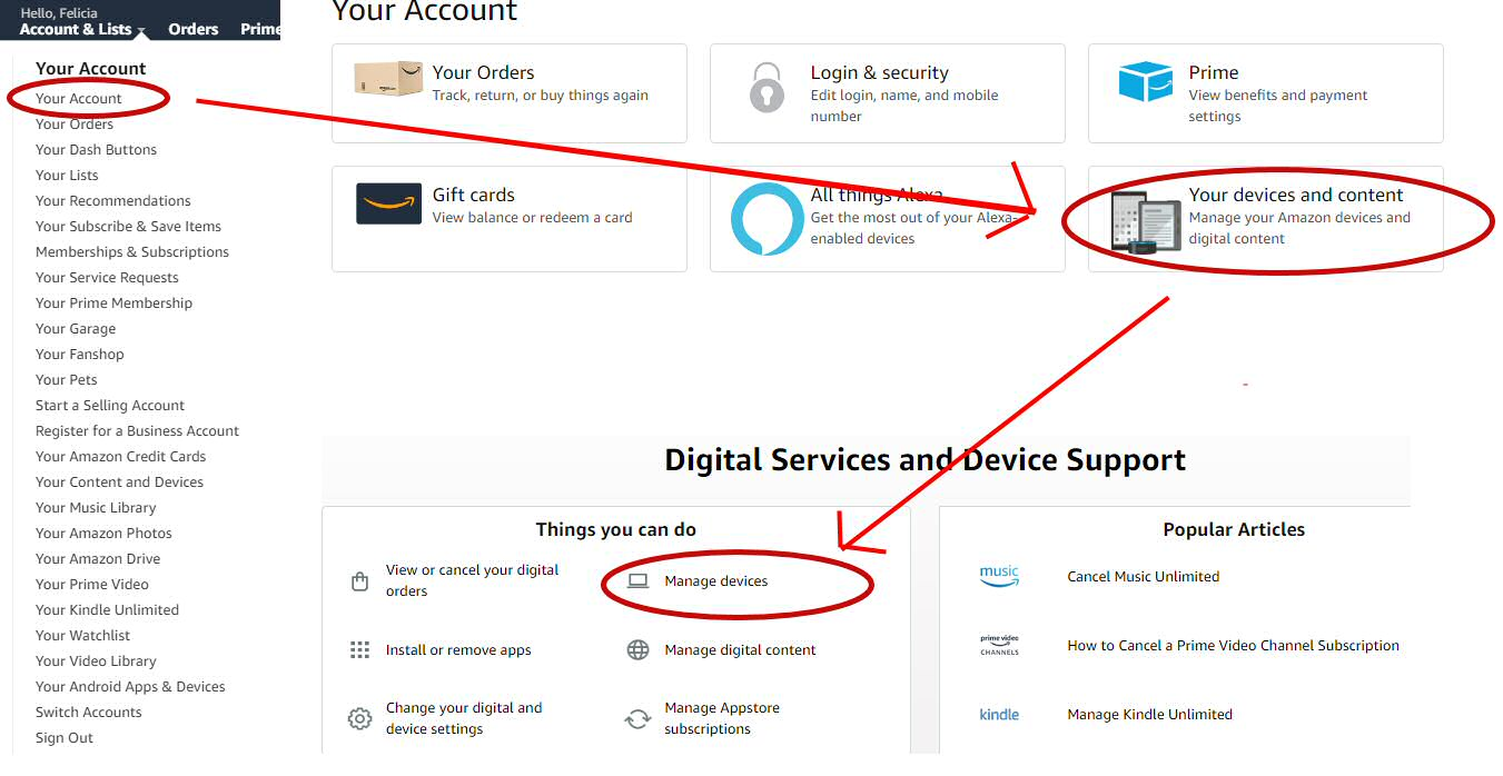 Amazon Account - Manage Devices