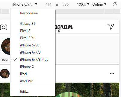 Instagram Select Device Size