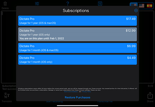 Dictate Subscription Options